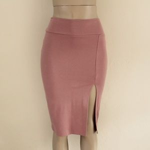 Blush Pink Stretchy Pencil Skirt